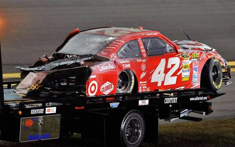Juan Pablo Montoya's car after it was destroyed in a fire with 40 laps remaining.