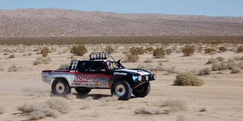 """The restored Toyota truck, driven by Ivan """"Ironman"""" Stewart in the Baja 2000 some 12 years ago, roars back to life. The truck is going up for sale."""