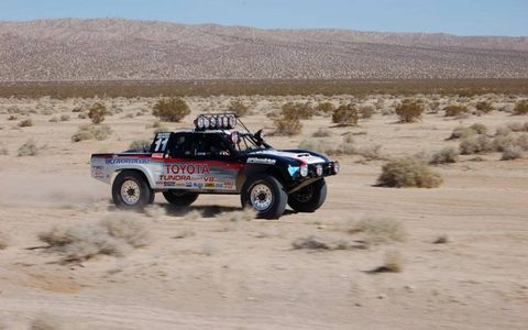 "The restored Toyota truck, driven by Ivan ""Ironman"" Stewart in the Baja 2000 some 12 years ago, roars back to life. The truck is going up for sale."