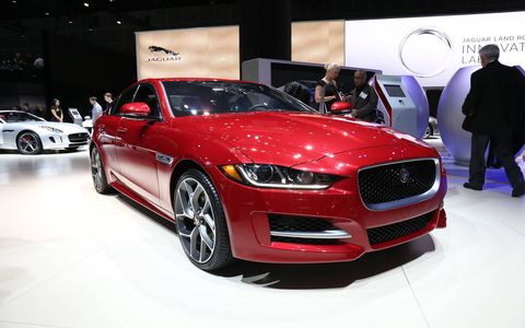 The 2017 Jaguar XE debuts in North America with either a gas or diesel engine, an eight-speed transmission and loads of safety features.