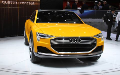The 2016 Audi h-tron concept debuted in Detroit on Monday.