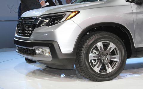 The 2017 Honda Ridgeline pickup on the floor of the Detroit auto show.