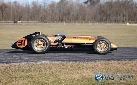 "This 1957 Kurtis Kraft 500G was the late ""Smokey"" Yunick's first Indy car. It's heading to the Worldwide Auctioneers sale in Scottsdale, Arizona, where it will be lot 30."