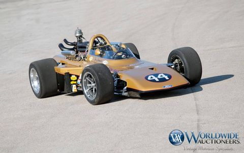 This 1969 All-American Racers was the only AAR Eagle sold to a new customer. That customer, Smokey Yunick, held on to the car for over 30 years. Currently, it's lot 31 at the Worldwide Auctioneers Scottsdale, Arizona, auction.
