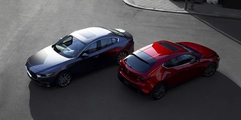 The new Mazda 3 sedan and hatchback compact cars debuted ahead of the 2018 LA Auto Show
