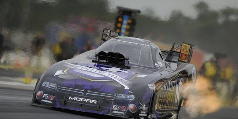 Points leader Jack Beckman is the top qualifier in Funny Car at Brainerd, Minn., for Sunday's eliminations at the Lucas Oil NHRA Nationals.