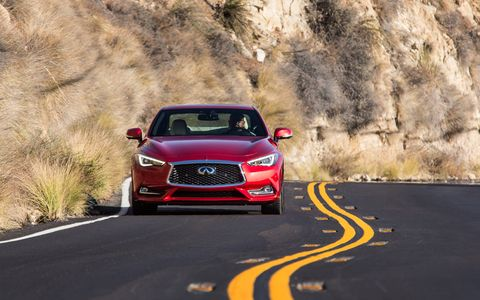 The Infiniti Q60 Coupe, especially in the Red Sport 400 trim shown above, is a strong contender in the sporty coupe segment, with 3863 pounds of ground-hugging weight and 400 hp of firepower underhood.