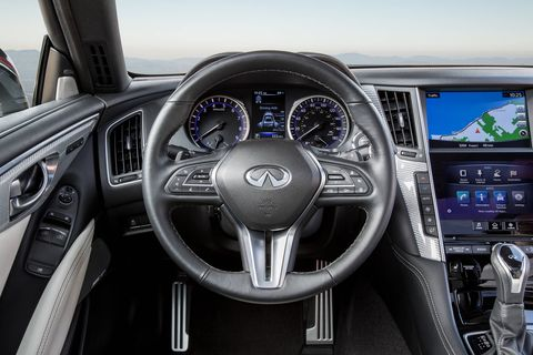 The 2018 Infiniti Q60 has several drive modes to select from that alter steering, throttle, suspension and transmission operation.