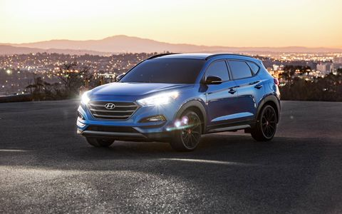 The 2017 Hyundai Tucson Night gets the same 1.6-liter turbocharged four as the regular Tucson Sport, making 175 hp and 195 lb-ft of torque.