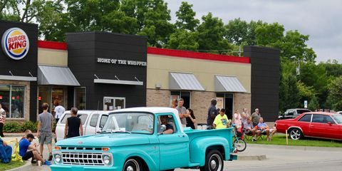 This early 1960s Ford F100 has a hot rod look with its lowered nose.