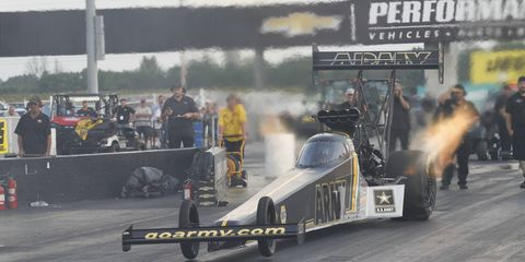 Tony Schumacher notched his 10th career NHRA U.S. Nationals championship with the win in Top Fuel on Monday.