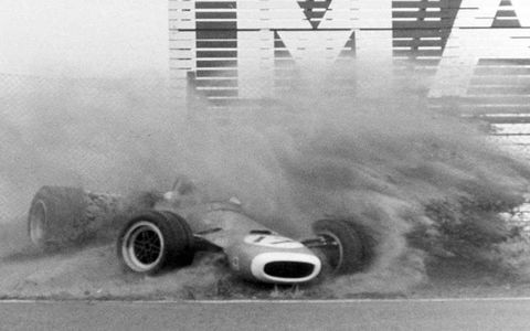 Jean-Pierre Beltoise spins his Matra MS11 off-course during the 1968 Dutch Grand Prix in Zandvoort, Holland. Beltoise, running in second place at the time, is not injured.