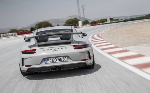The carbon rear wing -- a characteristic, iconic feature of Porsche GT sports cars -- is situated about 1 inch higher in the air flow than on the predecessor model, generating greater downforce.