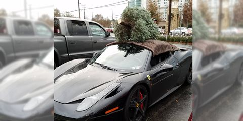 A Ferrari 458 Italia is the perfect vehicle for all your holiday shopping -- Christmas tree included.
