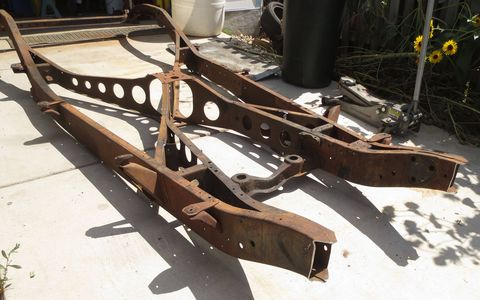 The front section of the 1941 Plymouth's frame was sliced off.