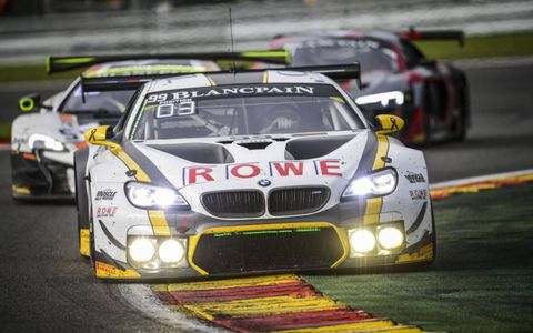 The #99 Rowe Racing BMW of Maxime Martin, Alexander Sims and Philipp Eng overcame  alate-race rainstorm and ran a faultless race to win the Total 24 Hours of Spa, crown jewel of the Blancpain GT Series in Europe.