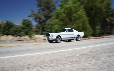 Each Classic Recreations GT350CR begins life as an original '65/'66 Mustang. CR then swaps in a new drivetrain, in this case a 550-hp 427-cubic-inch V8, adds a host of modern amenities and authentic Shelby performance parts until voila you have, essentially, a brand-new Shelby GT350 with modern brakes, suspension and steering. Woot!