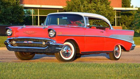 Land vehicle, Vehicle, Car, Motor vehicle, Classic car, Classic, Coupé, 1957 chevrolet, Antique car, Vehicle door,