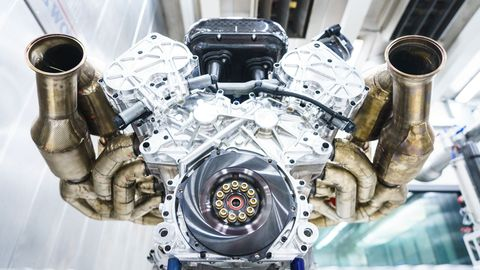 The Aston Martin Valkyrie's V12 will make 1,000 hp and 545 lb-ft of torque. The hypercar will also get an electric hybrid system filling in the gaps.