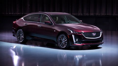 The 2020 Cadillac CT5 sedan has been revealed at the 2019 New York auto show. A turbocharged 2.0-liter inline-four engine is standard, with a 3.0-liter twin-turbocharged V6 offered on Premium Luxury and Sport trims; a 10-speed automatic is the only transmission offering.