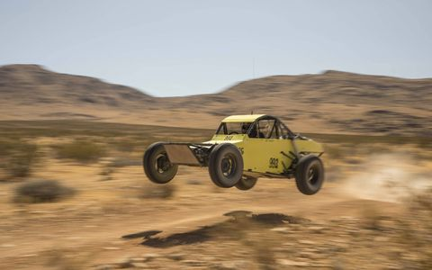 """Wheee! Cody Jeffers, of Mojave Off-Road Racing Enthusiasts, said this particular Class 9 buggy """"gets a little light sometimes."""" He wasn't kidding. Desert racing can be fun, a mixture of banging around in the dirt and occasionally flying above it."""