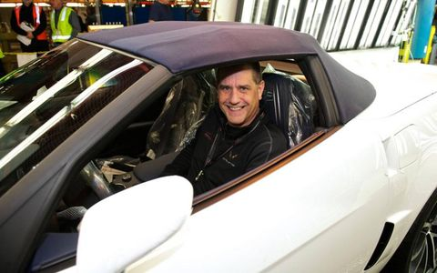 Bowling Green plant manager Dave Tatman drives off the last C6 Corvette.