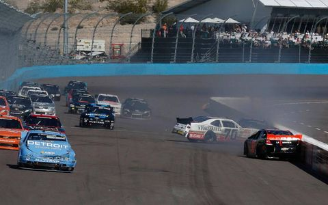 Action from the NASCAR Nationwide Series race at Phoenix on Saturday.
