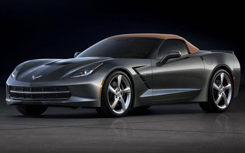 The 2014 Chevrolet Corvette Stingray convertible with the fabric roof closed.