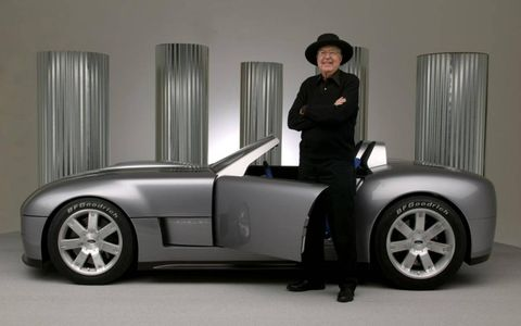Carroll Shelby stands with his Shelby Cobra Concept