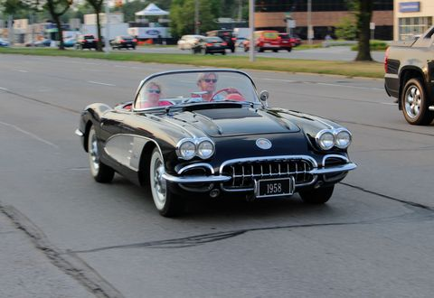 This 1958 Chevy Corvette was enjoying the open-air weather