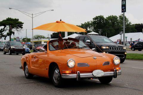 This Karmann Ghia is ready for the impending rain.
