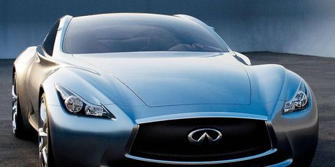 The Infiniti Essence is a two-seat, rear-drive concept with a hybrid powertrain that is rated at nearly 600 hp. Infiniti says the Essence shows design cues for future vehicles.