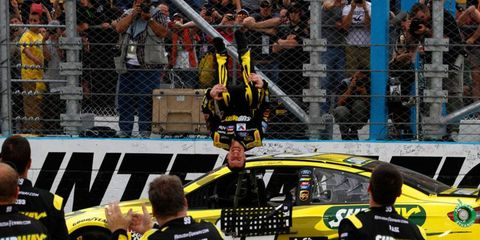 Carl Edwards celebrates his victory at Phoenix like only he can, with a back-flip.