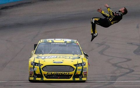 A back-flip can only mean one thing on a NASCAR track -- Carl Edwards came up a winner on Sunday.
