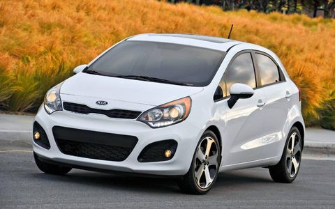 The 2013 Kia Rio SX 5-door is powered by a 1.6-liter four-cylinder engine making 138 hp and 123 lb-ft of torque.