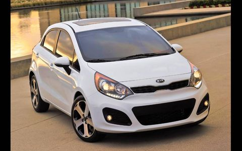 Fuel economy for the 2013 Kia Rio SX 5-door is 29 mpg in the city and 37 mpg on the highway.