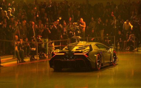 The Lamborghini Veneno exits to the sound of applause at VW Group Night.