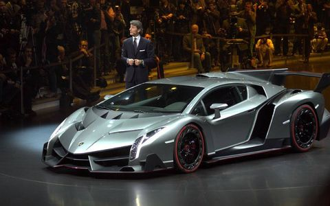 The Lamborghini Veneno debuts at the Geneva motor show.