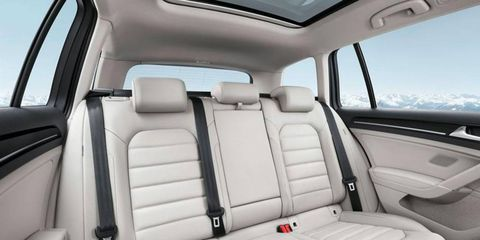 The Volkswagen Golf Variant wagon's rear seat folds flat.