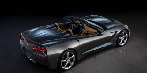 An overhead view of the Corvette Stingray convertible with the top open.