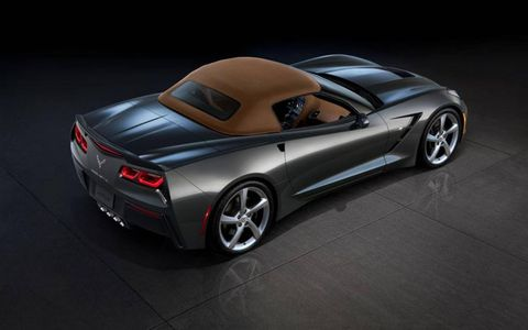 An overhead view of the Chevrolet Corvette Stingray convertible with the top closed.