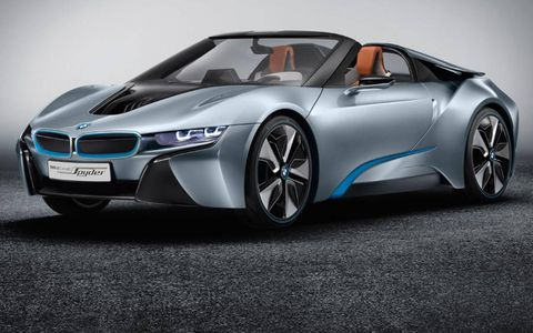 A front view of the BMW i8 spyder.
