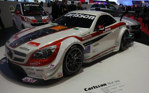 """Power output for the Carlsson SLK 340 is 610 hp from a 3.4-liter Judd V8, it goes from zero to 60 in 2.7 seconds and from 60 to 120 in """"less than five seconds."""""""