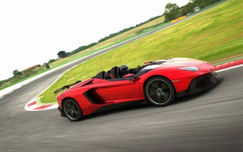 It's a barchetta in the truest sense, as the Aventador J is an open-air two-seater with no roof.
