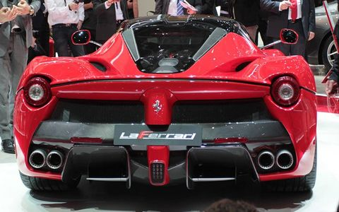A rear view of the Ferrari LaFerrari supercar.