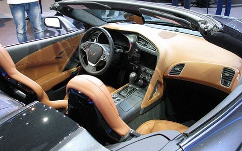 A look at the interior of the 2014 Chevrolet Corvette Stingray convertible.