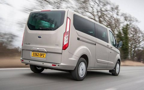 The front looks sleek and modern, but the rear of the Tourneo is the definition of boxy.