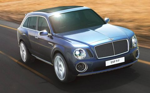 Revealed at the Geneva motor show, the Bentley EXP 9 F has restrained styling defined by a dominant hood, flat beltline, generous glasshouse and the hallmark matrix grille