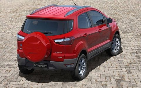 The Ford EcoSport's small size required engineers to place the spare tire on the liftgate.