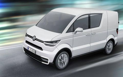 """VW considers the e-CO-motion concept a """"transporter"""" -- with an emphasis on transporting goods rather than people."""